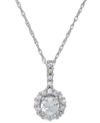 Macy's White Sapphire Halo Pendant Necklace In 14K White Gold 3 8 Ct. T.W.
