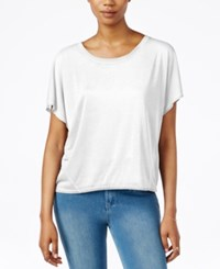 Rachel Rachel Roy Split Back Short Sleeve Top White
