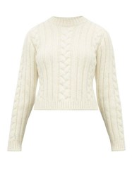 Ganni Cable Knit Alpaca Blend Sweater Ivory