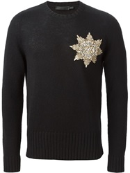 Alexander Mcqueen Embellished Badge Sweater Black