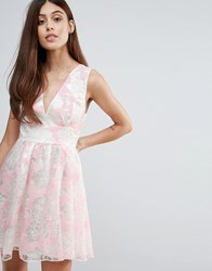 Zibi London Flocked Print Organza Dress Pink