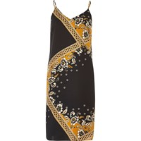 River Island Womens Black And Gold Print Slip Dress