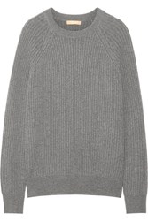Michael Kors Collection Ribbed Cashmere Sweater Gray