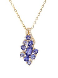 Lord And Taylor Tanzanite White Topaz 14K Yellow Gold Cluster Pendant Necklace