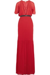 Issa Hayes Smocked Pleated Georgette Gown Red