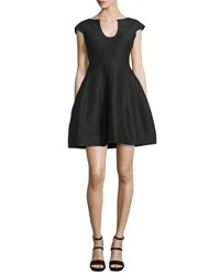 Halston Cap Sleeve Structured Fit And Flare Dress Black