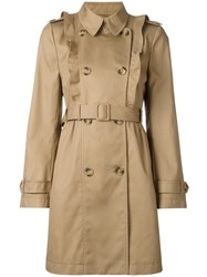 Red Valentino Ruffled Front Trenchcoat Nude Neutrals
