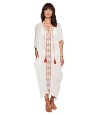 Vitamin A Isabell Long Caftan Cover Up Topange Embroidered Gauze Women's Swimwear White