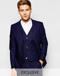 Selected Homme Exclusive Pin Dot Suit Jacket In Skinny Fit Blue