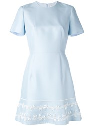 Christian Dior Embroidered Flared Dress Women Silk Cotton Glass 36 Blue