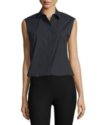 Joseph Sleeveless Collared Poplin Shirt Black
