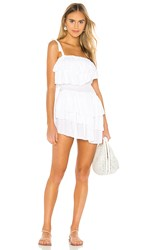 Indah Daria Layered Ruffle Mini Dress In White.