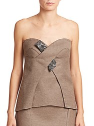 Escada Wool And Cashmere Embellished Bustier Top Dark Brown