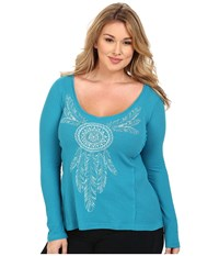 Roper Plus Size 9919 Thermal Knit Top Blue Women's Clothing