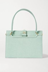 Dolce And Gabbana Ingrid Lizard Effect Leather Tote Blue