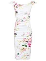 Jolie Moi Ruched Wiggle Dress White