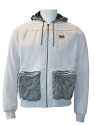 Jeep Mens Hooded Sweatshirt With Nylon Pockets Grey