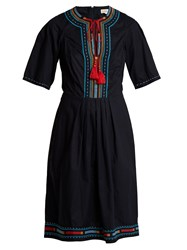 Talitha Anita Embroidered Cotton Dress Navy
