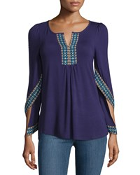 Neiman Marcus Embroidered Flutter Sleeve Tunic Navy Blue