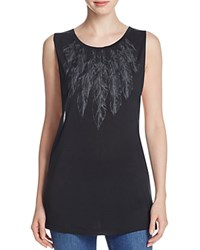 Haute Hippie Feather Print Muscle Tee Compare At 145 Black Heather