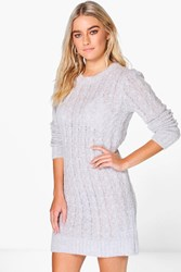 Boohoo Boucle Cable Knit Dress Grey