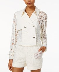 Rachel Roy Cropped Lace Contrast Trench Jacket Only At Macy's White
