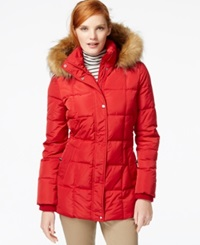 Tommy Hilfiger Faux Fur Trim Quilted Puffer Coat Red