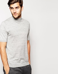 Asos Knitted T Shirt With Turtle Neck Lightgrey