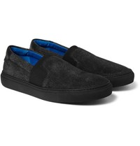 Balenciaga Cracked Nubuck Slip On Sneakers Black