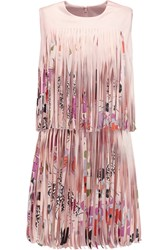 Alexis Eleanor Fringed Printed Satin Mini Dress Pink