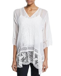 Johnny Was Elle Crochet Trim Tunic Plus Size White