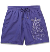 Vilebrequin Moorea Mid Length Embroidered Swim Shorts Purple