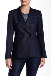 Lk Bennett Seren Linen Blend Double Breast Blazer Blue