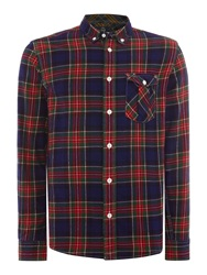 Duck And Cover Schofield Long Sleeve Tartan Shirt Bottle Green