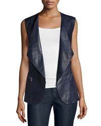 Lafayette 148 New York Scotty Draped Front Leather Vest Delft Women's