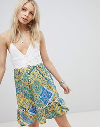 Kiss The Sky Button Down Cami Dress With Contrast Scarf Print Multi