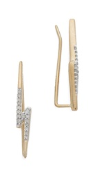 Adina Pave Lightning Bolt Wing Earrings Gold