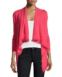 Magaschoni Cashmere Cardigan With Fringe Trim Hot Coral