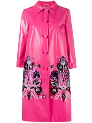 Miu Miu Sequin Embellished Coat Pink Purple