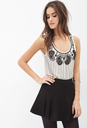 Forever 21 Sheer Beaded Top