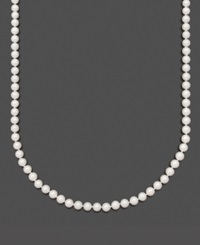 Belle De Mer Pearl Necklace 16' 14K Gold Aa Akoya Cultured Pearl Strand 6 6 1 2Mm Black