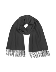 Coveri Collection Fringed Solid Wool And Cashmere Pashmina Black