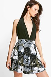 Boohoo Camo Floral Box Pleat Mini Skirt Multi