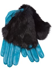 Imoni Fur Timmed Gloves Blue