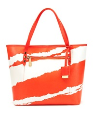 Kenneth Cole Dover Street Leather Tote Bag Tigerlily White