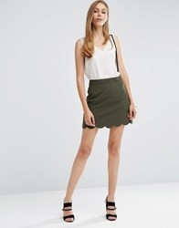 Asos A Line Mini Skirt With Scallop Hem Forest Green