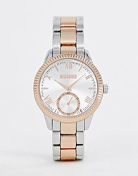Missguided Bracelet Watch In Mixed Metal Gold