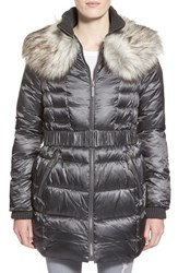 Women's Betsey Johnson Faux Fur Collar Belted Quilted Coat Gunmetal