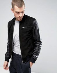 Kiomi Suede Bomber Jacket With Leather Sleeves Black