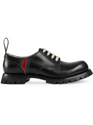Gucci Leather Lace Up With Web Black